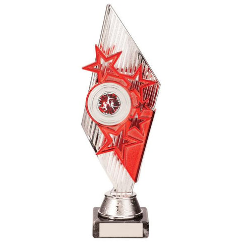Pizzazz Plastic Trophy Silver & Red 270mm