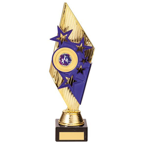 Pizzazz Plastic Trophy Gold & Purple 280mm