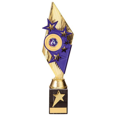 Pizzazz Plastic Trophy Gold & Purple 325mm