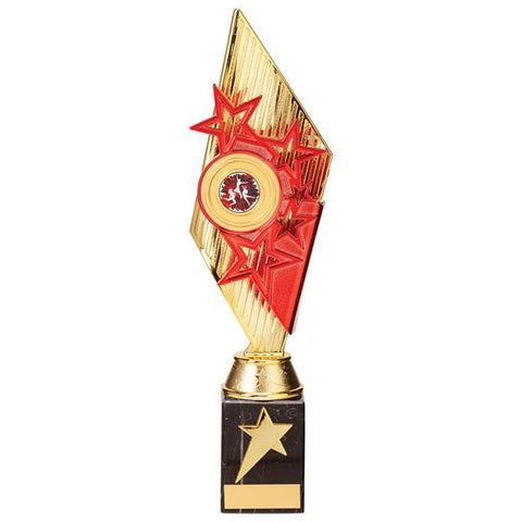 Pizzazz Plastic Trophy Gold & Red 325mm