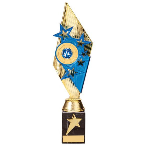 Pizzazz Plastic Trophy Gold & Blue 325mm