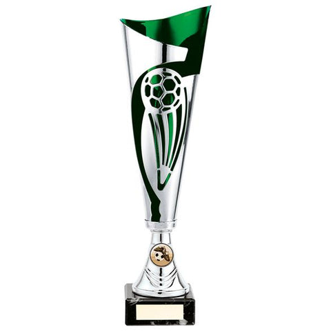 Champions Football Cup Silver & Green 340mm
