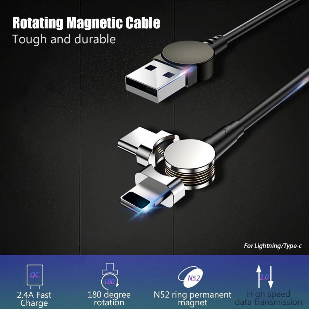 Magnetic Cable 180° Rotating Charging Cable For Android & IOS Fast Charge Sync Data Transmission