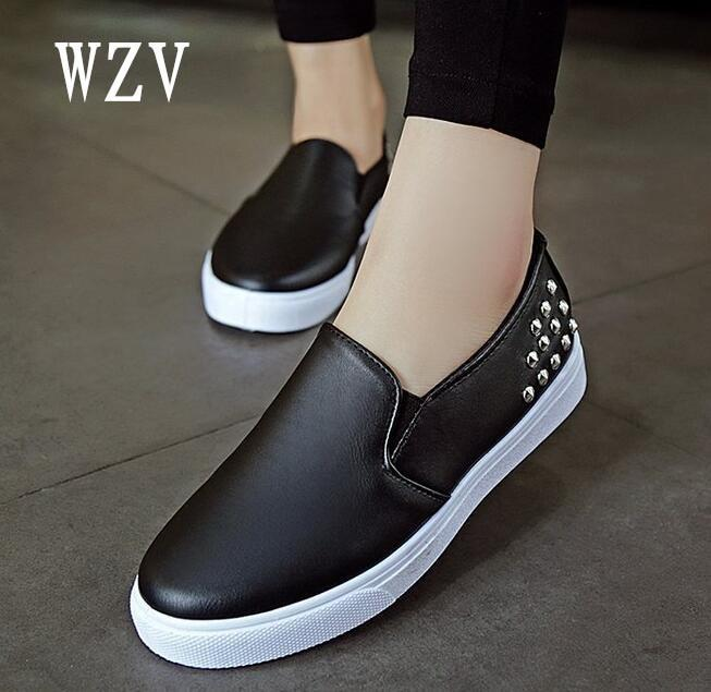 Women Leather Loafers Fashion ballet flats white black Shoes