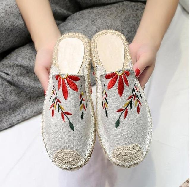Flat Canvas Shoes Slip-on Leisure Breathable Linen Women  Shoes