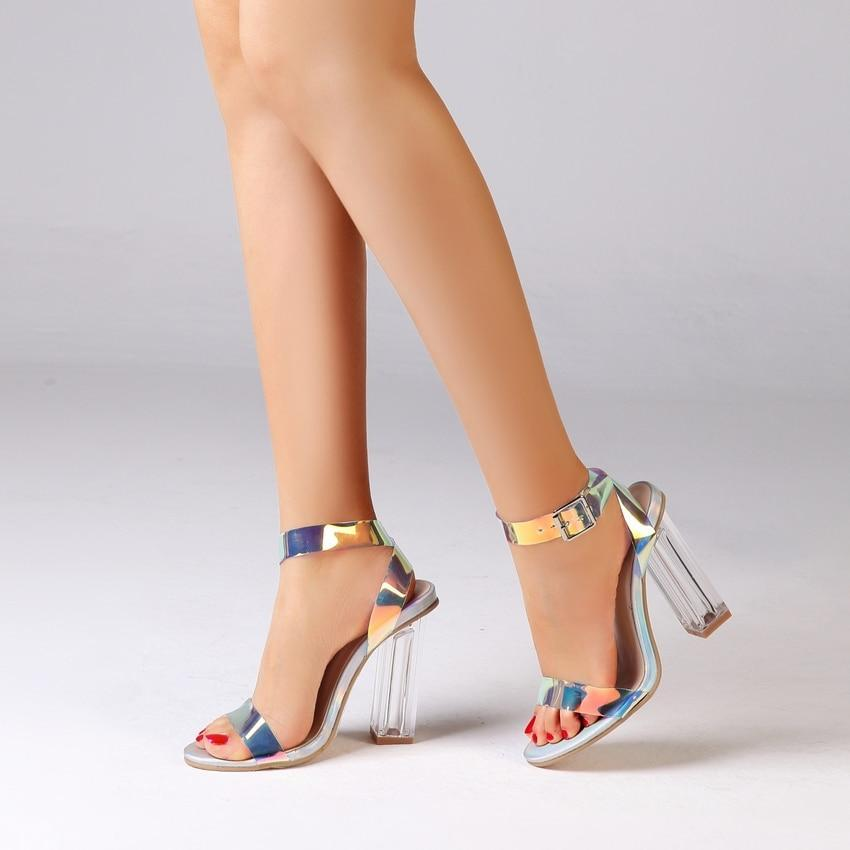 PVC Clear Transparent Strappy High Heels Shoes