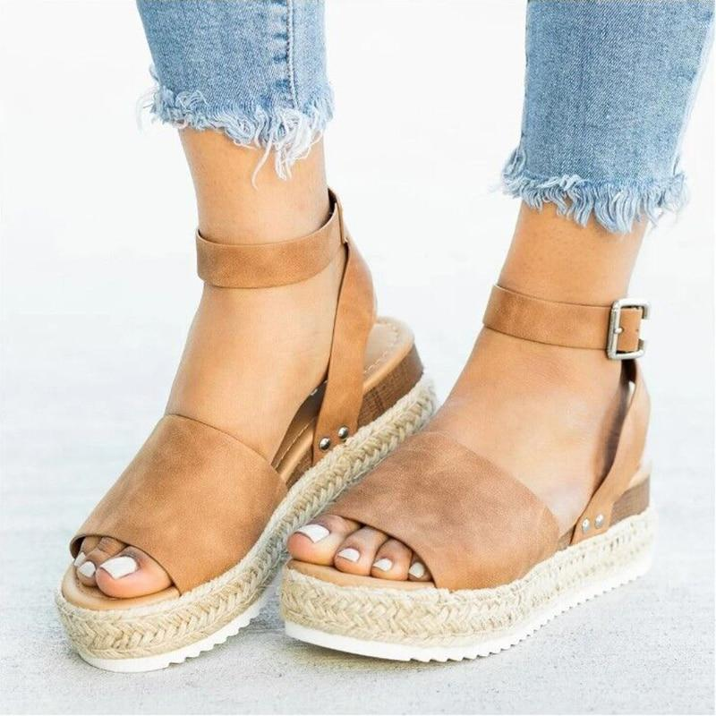 Summer Womens Casual Espadrilles Trim Rubber Sole Flatform Studded Wedge Buckle Ankle Strap Open Toe Sandals