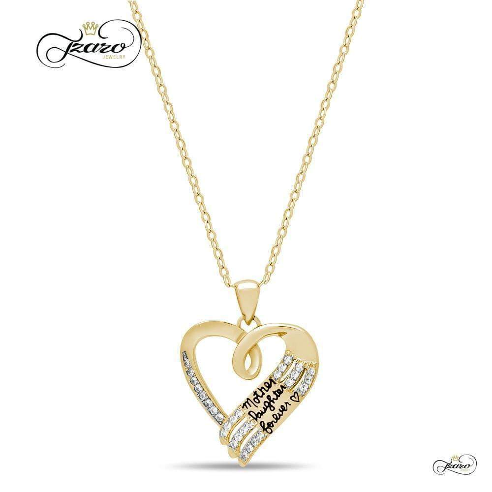 Mother Daughter Necklace, 925 Sterling Silver, 14K Gold Plated