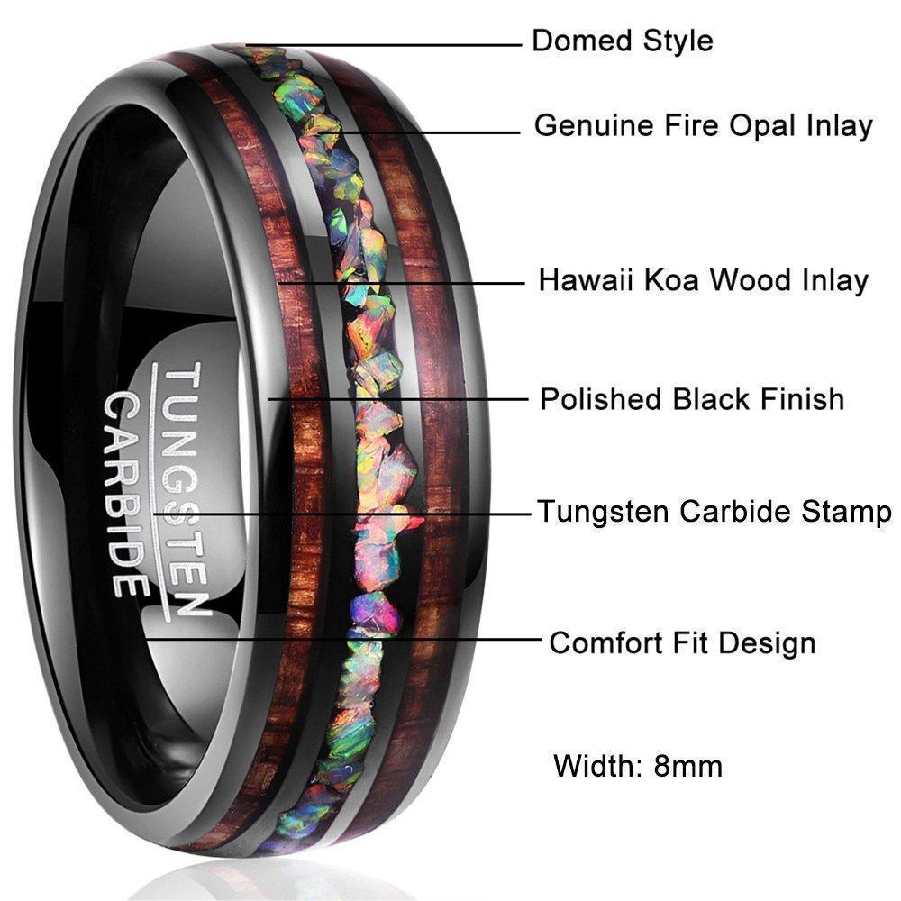Hawaiian Wood Tungsten Ring