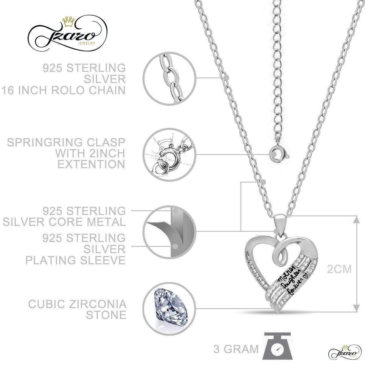 Mother Daughter Necklace, 925 Sterling Silver
