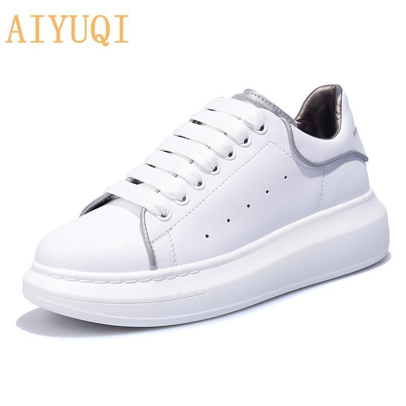 new  women sneakers genuine leather platform luminous shoes