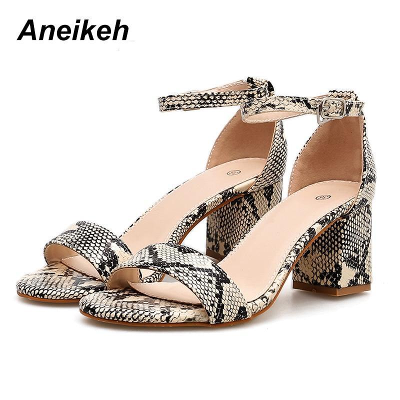 Leopard Print Women Sandals High HeelsAnkle Strap Square Heel