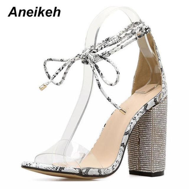 Aneikeh Women High Heels Sandals Square Heels Crystal Heeled Platform Shoes