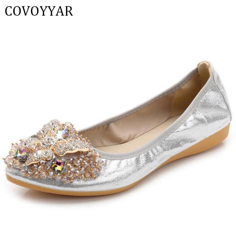 Luxury Rhinestone Ballet Flat Shoes Women Butterfly Pointed Toe Golden Shoes Loafers