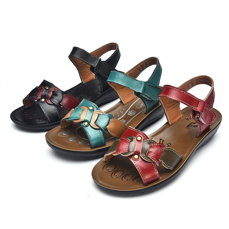 Casual Genuine Leather Sandals Women Wedge Sandals