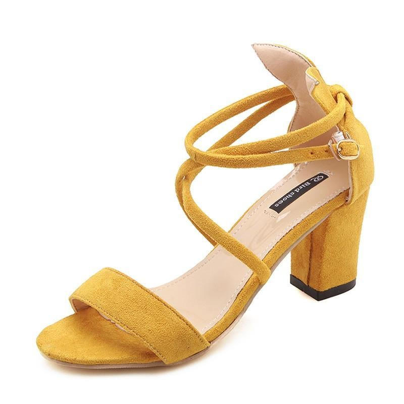 Female sandals  new female high heel sandals thick with shallow mouth fish mouth shoes