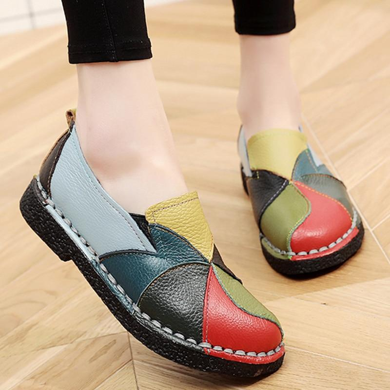 Designer Leather Shoes Women Flats Slip On  Loafers