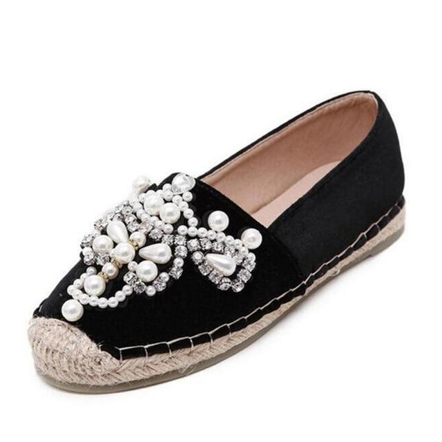 Women Loafer Round Toe Espadrilles Pearl Comfortable Hemp Bottom Women Shoes