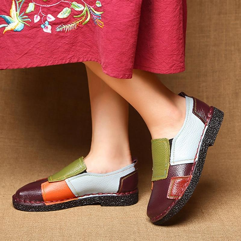 Women Leather Splicing Loafers Retro Soft Sole Non-slip Flats Shoes