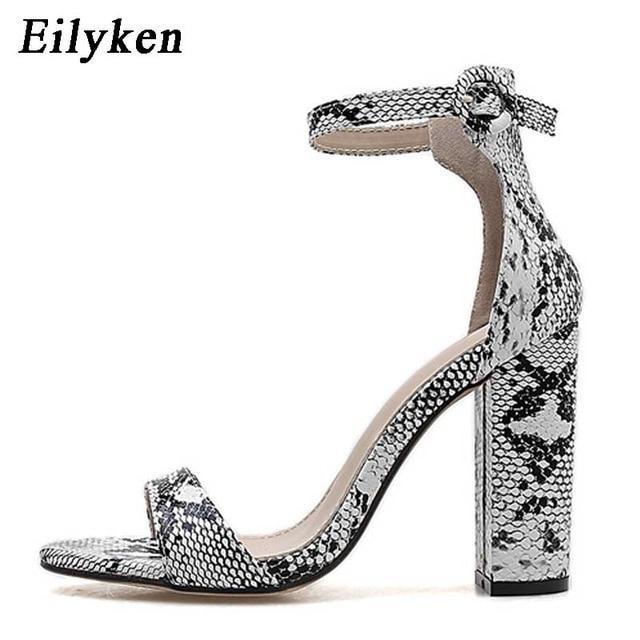 Women Ankle Strap Sandals Snake Print Square heel Fashion Pointed toe Ladies Fashion shoes
