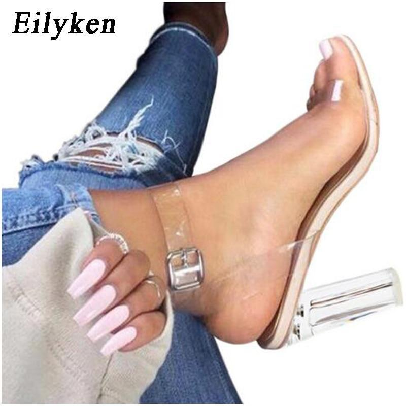 Women Sandals Ankle Strap Perspex High Heels
