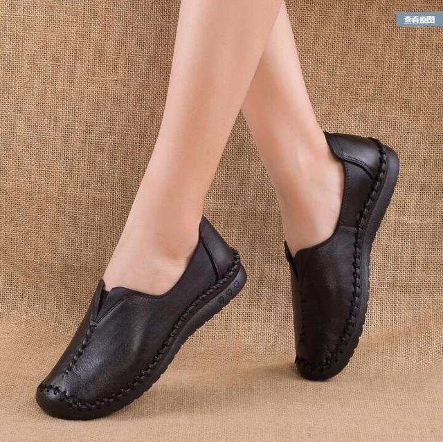 Genuine Leather comfortable non-slip soft bottom handmade sewing casual lazy shoes