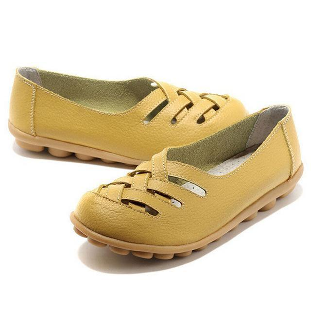 Genuine Leather Summer Women Flats Shoes