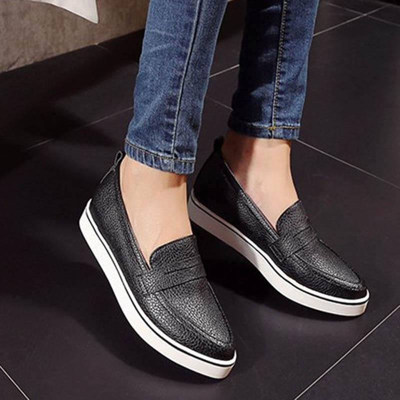 Ladies Casual Pointed Toe Slip-on Platform Loafers