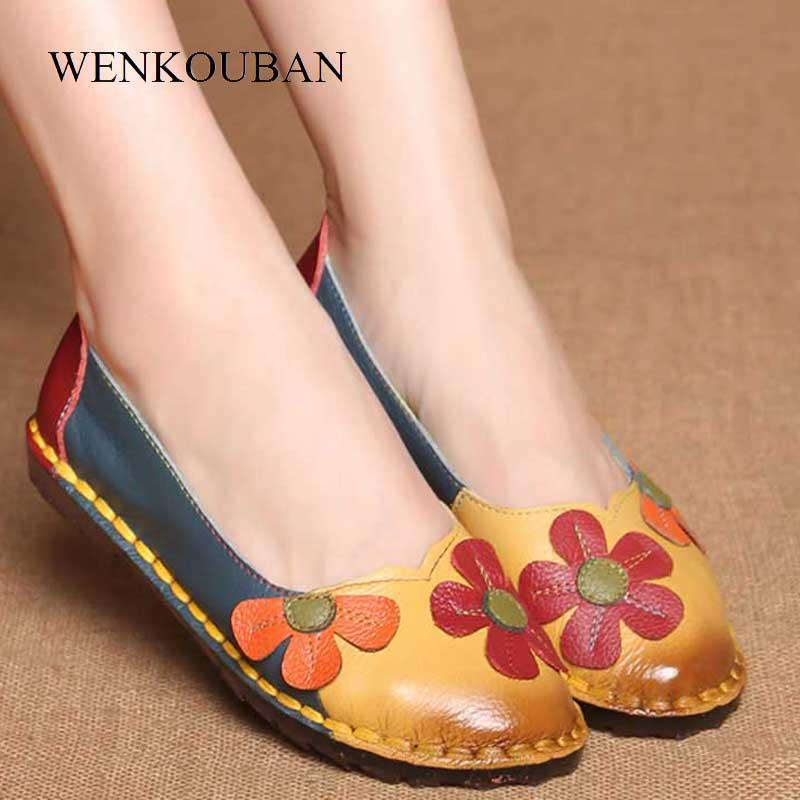 Leather Shoes Women Flats Slip