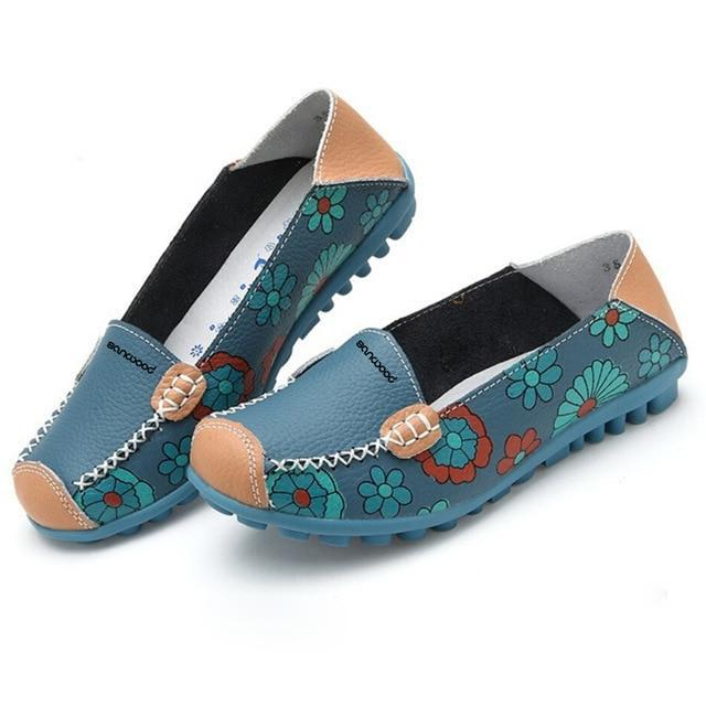 New Hot Fashion Women Faux Leather Flat Heel Casual Flower Pattern Loafer