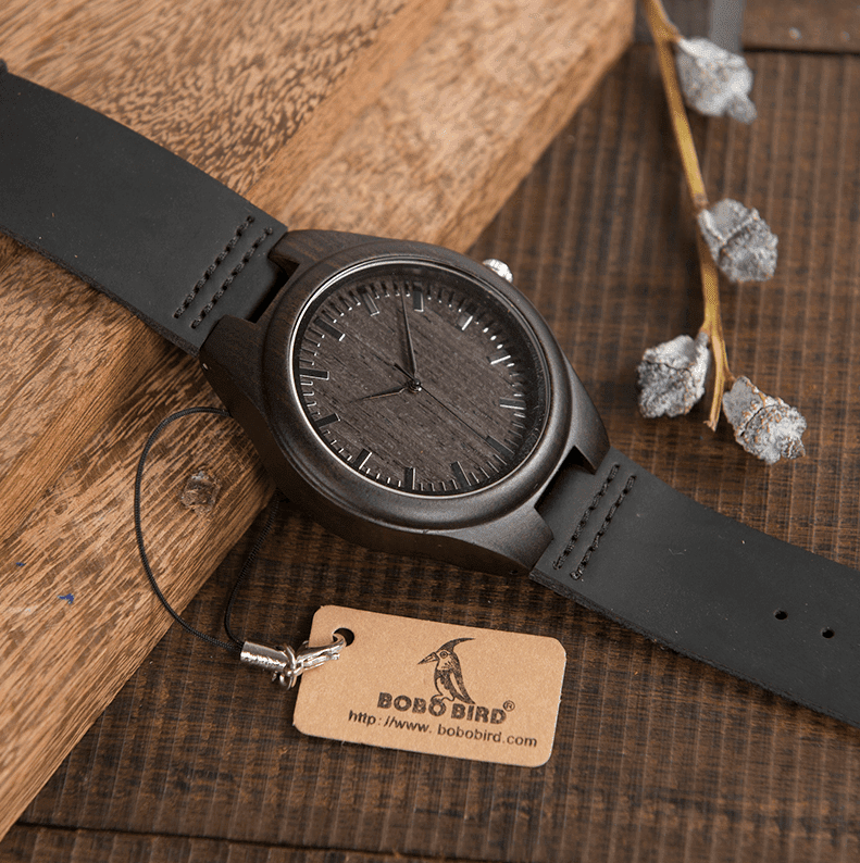 Mens Black Wooden Watch With Real Leather - Quartz, Natural Ebony Wood