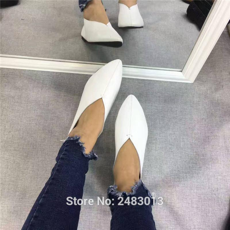 Women's Shoes Handmade 100% Genuine Leather Slip-On Women Simple style soft Cowhide Shoes