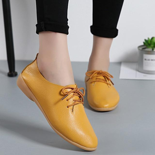 Fashion Sneakers Women Flats Genuine Leather Women shoes Loafers