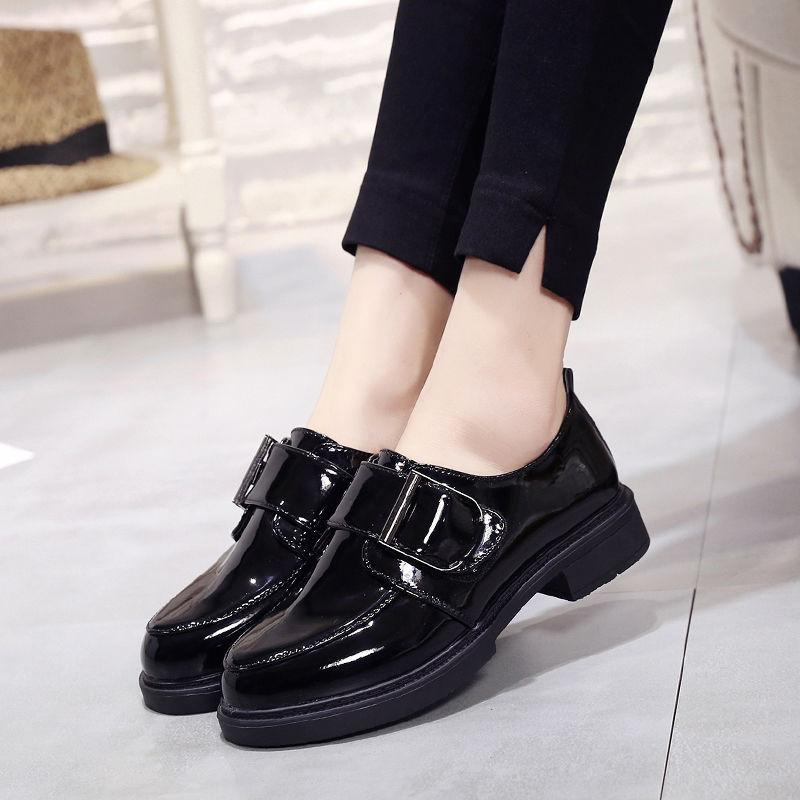 Women Shoes Loafers Patent Leather Low Heels Hook & Loop Footwear