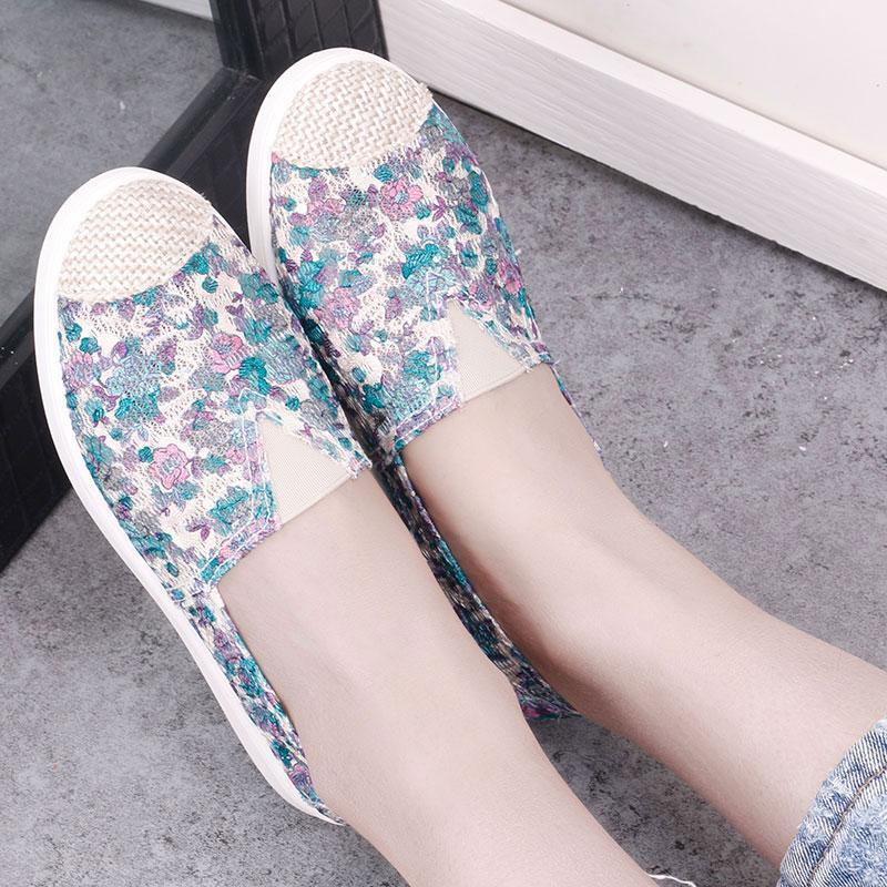 Flat Shoes Lace Embroidered Female Footwear Ladies Loafers