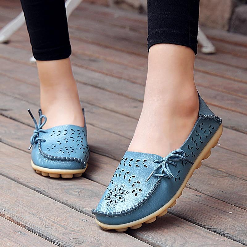 Flats Genuine Leather Slip On Cut-Outs Women Shoes Moccasins Loafers