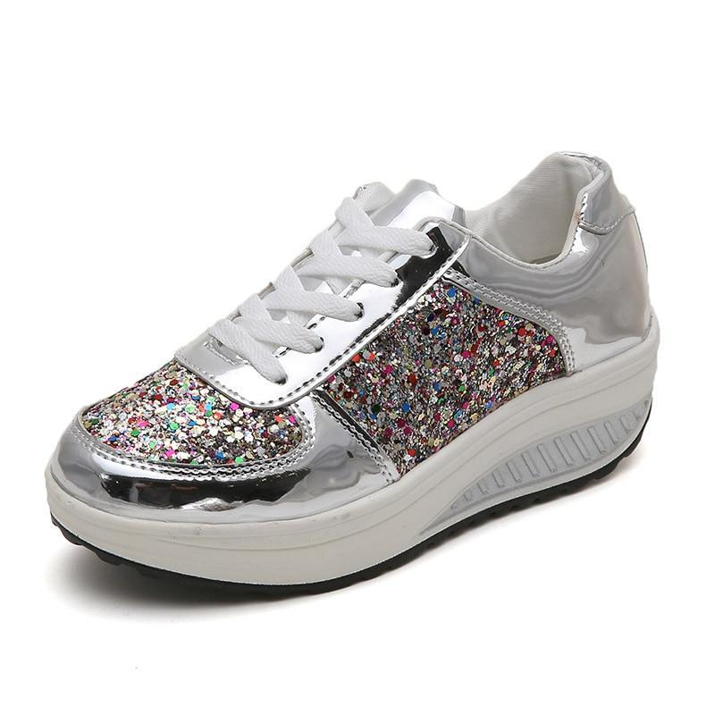 Platform Glitter Sneakers Silver Loafers