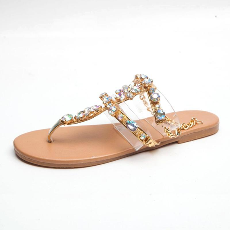 Women Shoes Rhinestones Chains Thong Gladiator Flat Sandals