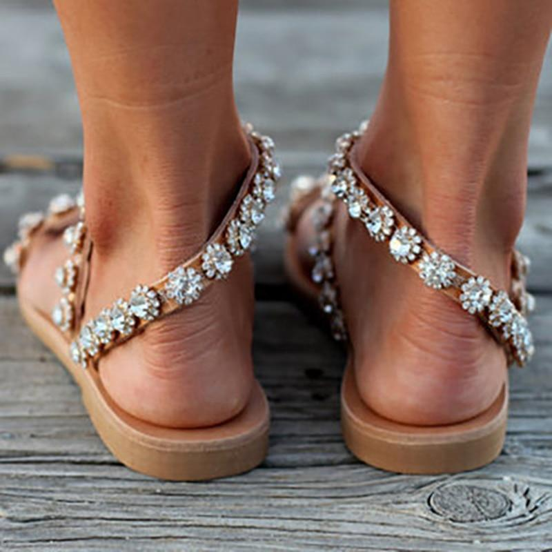 Women Sandals Bling Crystal  Shoes Woman Beach Flat Sandals