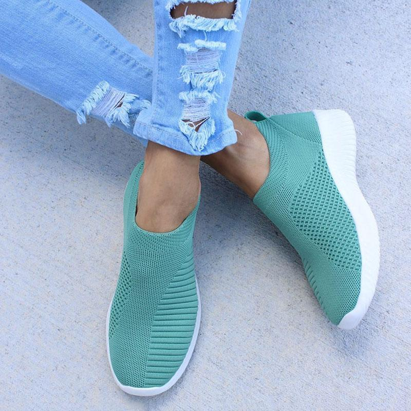 Women's Sneakers Flat Knitting Women Shoes New Plus Size