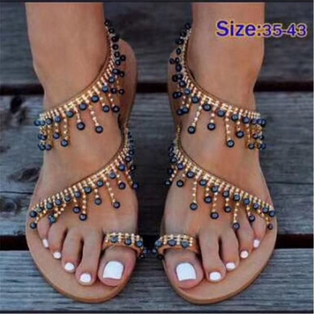 Women sandals flat pearl sandals