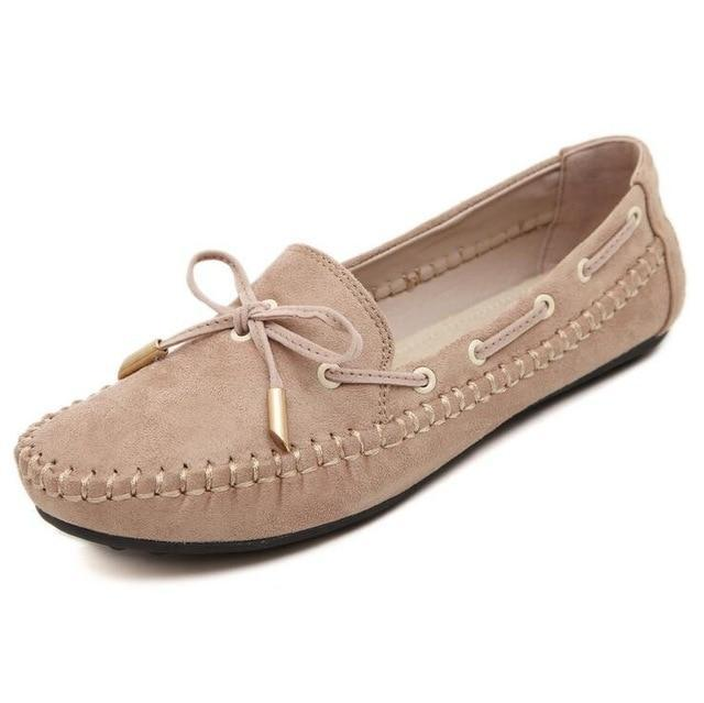 Womens Flats Casual Bowtie Loafers Sweet Candy Colors Flats Solid Shoes