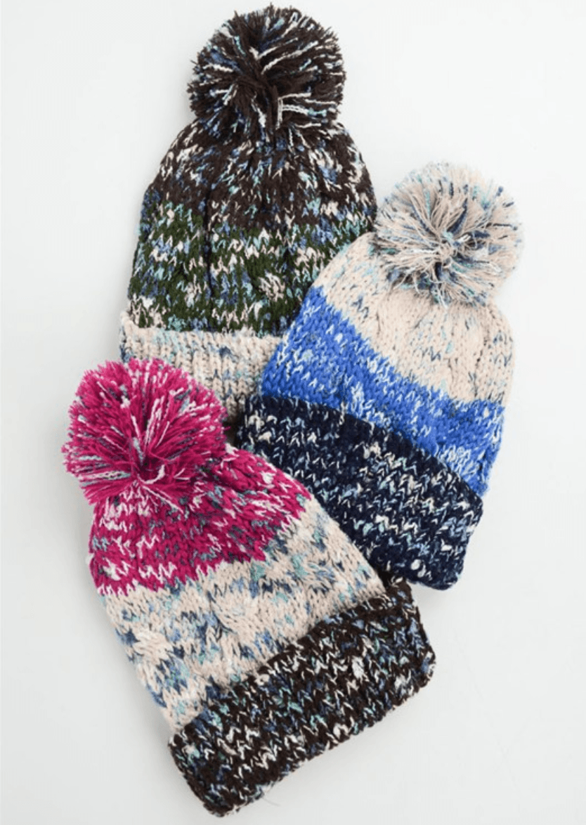 Black Multi-Color Pom Knit Beanie