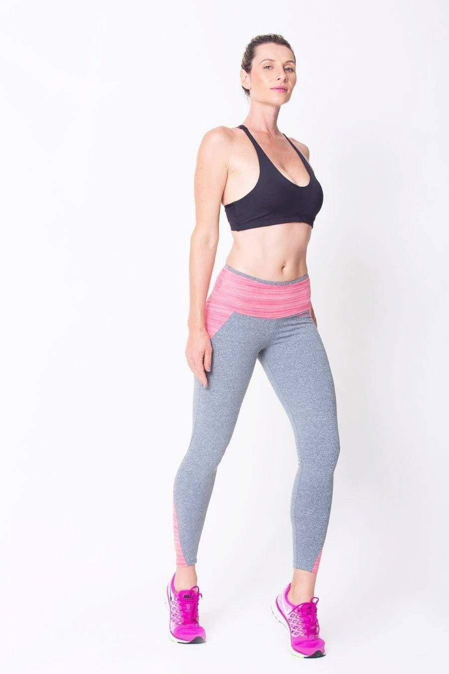 Pink/Heather Grey Superflex Leggings