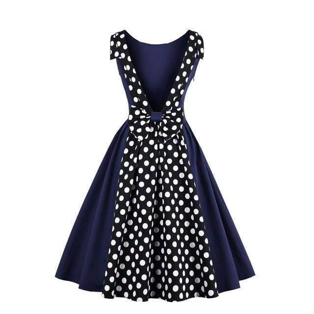Classic women vintage dress 1950s style polka dots party dress Behind slits bow sleeveless elegant summer female vintage dresses