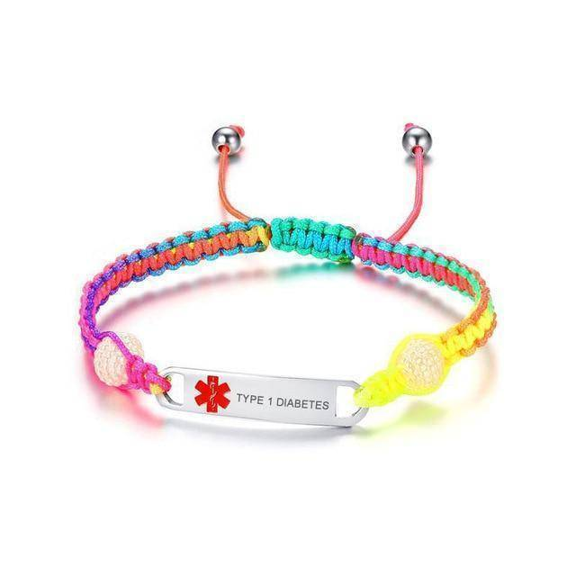 Kids Diabetic Rainbow Medical Alert ID Bracelet - Type 1 Diabetes, Type 2 Diabetes