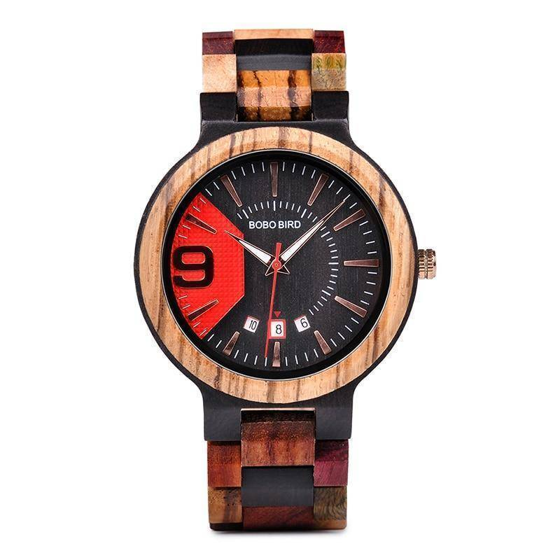 Wooden Mens Watch Men Date Display in Wood Gift Box