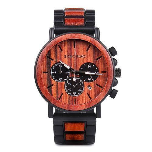 Wood and Stainless Steel Wooden Watch w/ Luminous Hands Mens Quartz Wristwatch