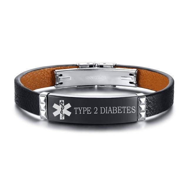 Mens Diabetic Medical Alert Bracelet - Black Leather - Type 1 and Type 2 Diabetes
