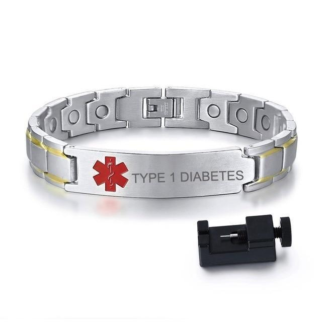 Mens Diabetic Medical ID Bracelet - Stainless Steel - For Type 1 and Type 2 Diabetes